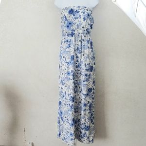 Old Navy Floral Print Strapless Maxi Dress